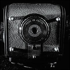 2017-190 Made In Japan (Darren Wilkin) Tags: yashica44lm mono squarecrop bottomsup macromondays macro oneaday 365 camera base
