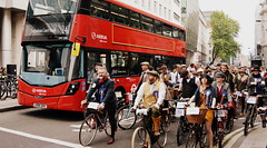 Wait For The Bus (dhcomet) Tags: london tweedrun bike cycling bicycle stopped halt holborn red bus
