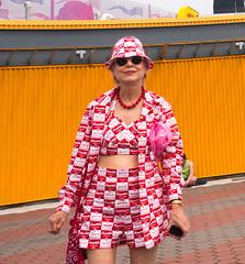 Andy Warhol Fan (UrbanphotoZ) Tags: mermaidparade coneyislandmermaidparade woman outfit campbellssoup can shorts top jacket hat floppyhat andywarhol boardwalk shades necklace condensed coneyisland brooklyn newyorikcity newyork nyc ny coneyartwalls