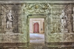 Guardians (Szydlak Szk) Tags: abandoned derelict decay decayed decaying defunct deteriorated desolate door portal paint picture painting sculpture mansion manor villa abandonata architecture interior forgotten forlorn forsaken urbex urbanexploration doorway detiled