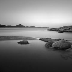Elements of a Coastal Landscape (panfot_O (Bernd Walz)) Tags: sea seascape beach rocks landscape evening dusk longexposure blackandwhite bnw monochrome fineart square silence calmness tranquility sardinia mediterraneansea