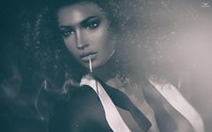 Charlie~NightLife (Skip Staheli *FULLY BOOKED*) Tags: skipstaheli secondlife sl avatar virtualworld dreamy digitalpainting nightlife monochrome charlienamiboo smoke smoking cigarette portrait closeup