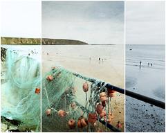 Filey Fishing Nets (Jean Turner Cain) Tags: sea seaside beach filey sky fishing photoshop adobe jeanturnercain