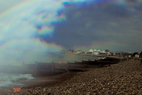 Felpham Beach, Glass prism to create rainbow effect