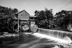 The Old Mill B&W (SeattleHVAC172) Tags: spring water nature river orange wood monochrome mill waterfall outdoors horizontal no person trees green flowers hotel usa tennessee pigeon forge wagon heron lilies wheel old 2017 june 2 christmas village inn christmasinn christmasvillage june2 oldmill pigeonforge pigeonriver waterlilies waterwheel