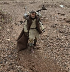 Trekking through the unforgiving desert. (chevy2who) Tags: customobiwan starwarsblackseriescustom starwarscustom custom inch six series black wars star mythos kenobi obiwan mythosobiwan blackseries starwars toyphotography toy