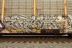 ? (TheGraffitiHunters) Tags: graffiti graff spray paint street art colorful freight train tracks benching benched racks autoracks