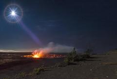 Lunar Limelight (Jeff Stamer (Firefallphotography.com)) Tags: firefallphotography firefallphotographycom jeffstamer hawaii bigisland volcanonationalpark kilaueacrater lava moonlight kilaueaoverlook caldera