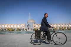 Isfahan, Iran (gstads) Tags: iran iranian persia persian isfahan esfahan man male bike bicycle square naqshejahansquare naqshejahan sheikhlotfollahmosque sheikhlotfollah mosque architecture fountain fountains cyclist