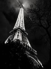 Paris (jim2302) Tags: eiffeltower paris blackandwhite night lights beams cross sky tree