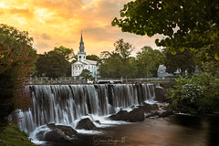First United Church of Christ (Simmie | Reagor - Simmulated.com) Tags: 2017 connecticut connecticutphotographer evening firstunitedchurchofchristinmilford june landscape landscapephotography lowerduckpondfalls milford nature naturephotography newengland outdoors sunset unitedstates wepawaugriver church ctvisit digital https500pxcomsreagor httpswwwinstagramcomsimmulated water waterfall wwwsimmulatedcom