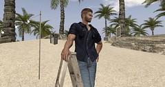 🔨 The Handyman 🔨 (AmberLyndhurst) Tags: secondlife second life blue sand beach rocks cat kittycat titchysdreams titchys titchy man hunk handiman handyman palm trees ladder steps poseing pose shirt jeans sighn