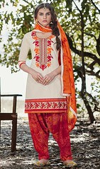 Off White Color Cotton Embroidered Patiala Suit