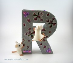 "Little Mice on Letter ""R"" (QuernusCrafts) Tags: polymerclay quernuscrafts cute mice decoupage letter r"