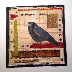 Corvid (JoMo (peaceofpi)) Tags: corvid crow artquilt mixedmedia bird sewing quilting fabric paper buttons beads thread painting scraps frayed peaceofpi canada
