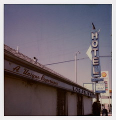 """A Unique Experience"" (tobysx70) Tags: the impossible project tip polaroid sx70sonar sonar instant color film for sx70 type cameras impossaroid a unique experience los feliz hotel blvd boulevard atwater village angeles la california ca neon sign arrow no vacancy shell gas gasoline petrol station mail box blue sky vanishing point toby hancock photography"