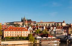 Sunrise over Prague (gambat) Tags: prague charlesbridge castle europe spring morning sunlight bluesky czech centraleurope