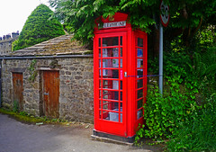 Hebden Library (wontolla1 (Septuagenarian)) Tags: hebden grassington wharfedale yorkshire dales telephone box red books phone bt post office sheds panasonic dmc gx1 m43 micro four thirds mirrorles lumix