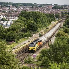 Cement Tanks at Narroways Hill Junction (powern56) Tags: bristol narrowayshilljunction colasrail class70 70810 6c36 cementtanks freighttrain train railway