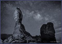 Balancing Act 0530 Mono (maguire33@verizon.net) Tags: archesnationalpark balancedrock milkyway silverefex utah galaxy sandstone stars moab unitedstates us