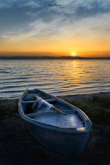 blue boat (dim.pagiantzas | photography) Tags: blue boat sky clouds sunset sun sea seascape seaside colors colorfull yellow summer greece hellas fishing landscape transportation atmospheric outdoor