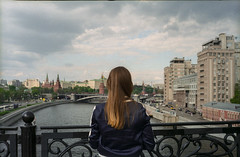 "serie ""московичи"" (lorenz debor) Tags: mosca color pellicola analogica ponte fiume photography woman vista panorama"