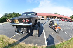 Classic Cars Corvair Club Hoyt's Restaurant Lexington, NC Motorcycle Harley Davidson heritage softail 20170710_4234 (Shane's Flying Disc Show) Tags: classiccars corvairclub davidson nc lexinton unsafeatanyspeed daredevils