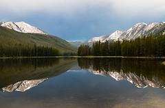 Morning Storm (ebhenders) Tags: twin lakes beayerhead mountains montana reflection storm morning calm still snow peaks