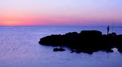 Waiting for (Trapani) (michelecannavo) Tags: fish sea trapani sicily sunset colors life wait fisherman background figure