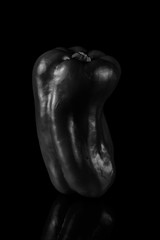 Red Pepper In The Light -  Black And White (Bill Gracey 15 Million Views) Tags: red pepper perspex blackbackground blackandwhite blancoynegro noiretblanc highcontrast offcameraflash softbox yongnuo yongnuorf603n shapes shadows shadowshapes sidelighting silverefexpro20