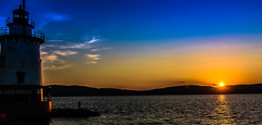 Sleepy Hollow Sunset (SK Wilcher Photography) Tags: nikon d7100 sunset newyork sleepyhollow yellow blue sky water clouds orange landscape