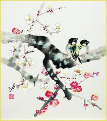 Plum and tit (Japanese Flower and Bird Art) Tags: flower plum prunus mume rosaceae bird tit paridae isao akita nihonga shikishi japan japanese art readercollection