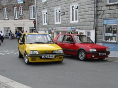 A Pair of 205s (occama) Tags: j321pay j663tvc peugeot 205 gti pair yellow red old car cornwall uk french hot harch supermini