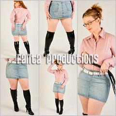 Picture Set:  Scarlet in Knee Boots & Light Denim Skirt (Fanta_Productions) Tags: denim denimskirt curvygirl curvywomen girlswhowearglasses redhair redhead catoninetails boots kneeboots kneehighboots patentboots tightboots highheelboots shortskirts