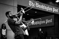 Sound Off. Washington, D.C. (June 2017) (Thomas Cluderay) Tags: washingtondc washington dc washingtonian blackandwhite photography canon6d streetportrait streetphotography city cityliving trombone verizoncenter galleryplace chinatown