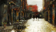 Passing by 3 (Bamboo Barnes - Artist.Com) Tags: venice italy wall building reflection light shadow photo painting digitalart blue red orange yellow black bamboobarnes vivid street tile cafe brick metal table chair man women gold