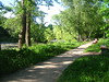 a path in park (VERUSHKA4) Tags: park nature europe canon russia moscow city cityscape ville view vue path way forest kuskovo summer june light shade tree verdure pond grass green bench man bankofthepond bank astounding image