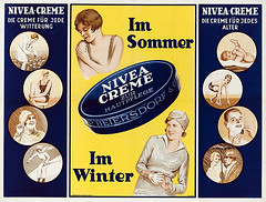 Nivea Cream for skin care - The cream for any weather - In summer - In winter - The cream for all ages (1933) (Susanlenox) Tags: niveacreamforskincarethecreamforanyweatherinsummerinwinterthecreamforallages nivea noveacreme sun sommer winter summer bech snow germay 1930 1933 poster plakat ads vintage creme hautpflege witterung cream hamburg