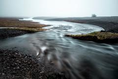 tidal recession (Port View) Tags: fujixe2 scotsbay novascotia canada cans2s 2017 spring tide stream brook tidal fog foggy rocks water flow shingle beach