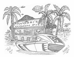Wobbi's (rod1691) Tags: bw scifi grey concept custom car retro space hotrod drawing pencil h2 hb original story fantasy funny tale automotive art illistration greyscale moonpies