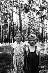 39660006 (sabpost) Tags: retro vintage scan film bw ussr ссср пленка сканирование скан негатив россия ретро old rare scans russia russian found photo siberia сибирь soviet girls childs portrait outdoor small kid two couple summer