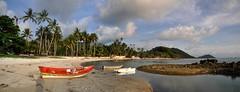 Koh Samui 148-9 Five Islands Beach (SwissMike62) Tags: thailand asia travel kohsamui beach sandybeach boats sand palmtrees island