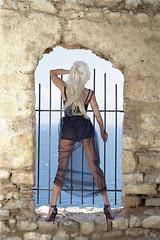 Wind from the Mediterranean (DZ-fotografia - 21 Million views, Thx) Tags: nafplio nauplion greece lady woman sexy long blonde hair high heels mediterranean fortress castle blue dress