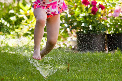 Water Sport 5 (LongInt57) Tags: girl child children person people playing play running run jumping jump splash water sprinkler lawn grass yard garden flowers fun recreation summer green pink red kelowna bc canada okanagan splashing
