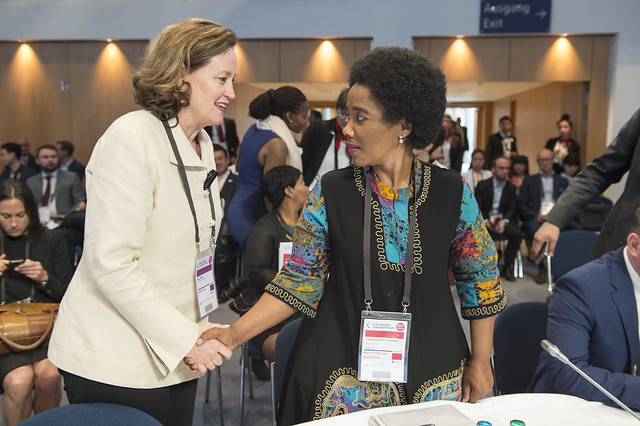 Mary Crass greeting Lydia Sindisiwe Chikunga