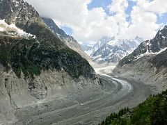 View of Mer de Glace, Aiguille du Tacul in the Mont Blanc massif (Terekhova) Tags: alps french chamonix swiss mountains snow clouds glacier ice valley icefield