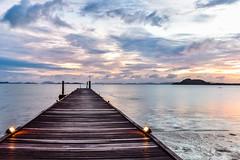Sunrise over the Andaman Sea (Merrillie) Tags: holidays resort sunrise pier water coconutisland phangngabay clouds phuket beach andamansea wharf travel island kohmaphrao waterscape landscape thevillagecoconutisland sea thailand