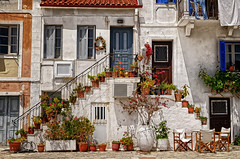 The Flowerpot Stairs (Alfred Grupstra) Tags: stairs europe architecture house window town flower street buildingexterior cultures facade urbanscene old outdoors city tourism italy flowerpot history famousplace travel parga greece