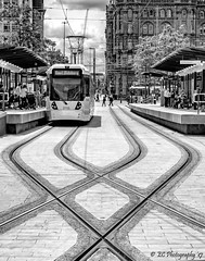 St. Peter's Square Tram Station. (Fermat 48) Tags: stpeterssquare manchester tram station midland hotel eastdidsbury lines canon eos 7dmarkii 3112 tracks black white bw