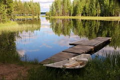 The beautiful summer-evening (irio.jyske) Tags: bay gulf summer evening midnightsummer landscape nature lake water pier boat forest trees canoncamera canonlens